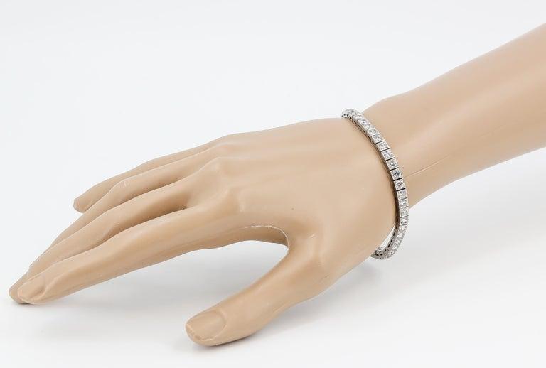 Tiffany & Co. Art Deco Diamond Platinum Tennis Bracelet For Sale 4