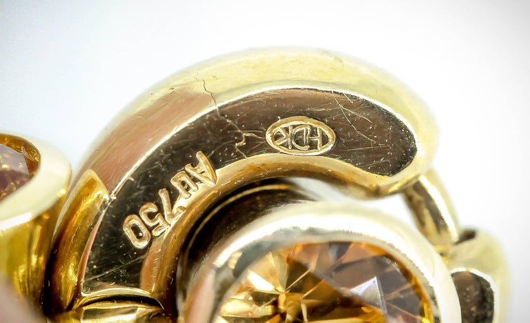 Women's or Men's Hans D. Krieger Citrine Diamond and Gold Link Bracelet For Sale