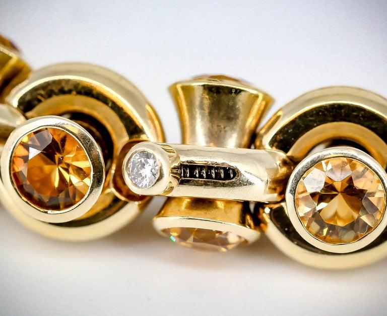 Hans D. Krieger Citrine Diamond and Gold Link Bracelet For Sale 1
