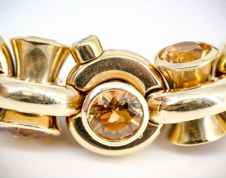 Hans D. Krieger Citrine Diamond and Gold Link Bracelet For Sale 2