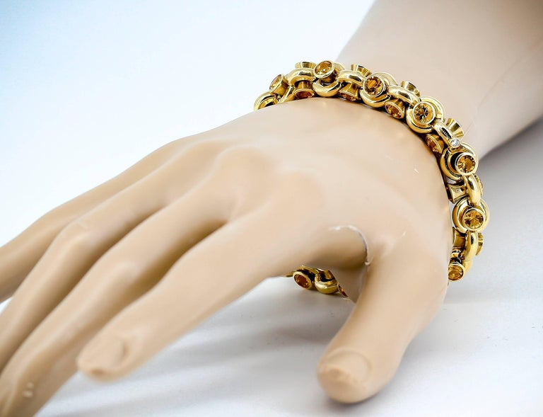 Hans D. Krieger Citrine Diamond and Gold Link Bracelet For Sale 4