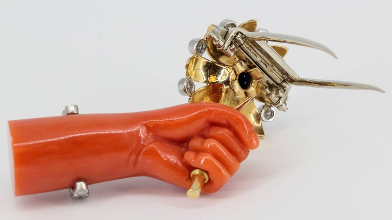 Cartier Lapis, Diamond, Coral Platinum and Gold Hand Holding Flower Brooch For Sale 2