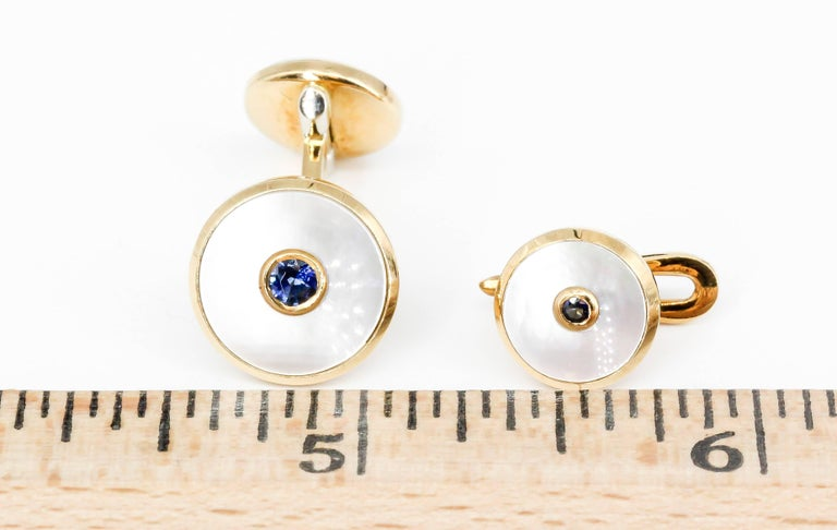 Men's Tiffany & Co. Sapphire, Mother-of-Pearl and Yellow Gold Cufflinks and Stud Set For Sale