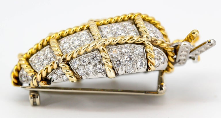 Women's Verdura Diamond, Platinum and Gold Wrapped Heart Shaped Brooch For Sale