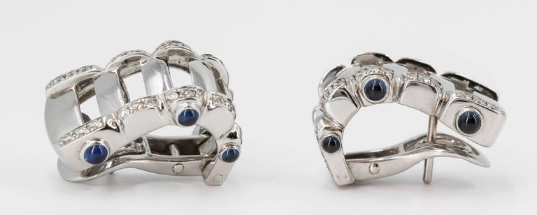 Women's Patek Philippe Twenty-4 Sapphire, Diamond and White Gold Hoop Ear Clips For Sale