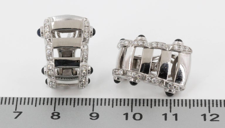 Patek Philippe Twenty-4 Sapphire, Diamond and White Gold Hoop Ear Clips For Sale 2