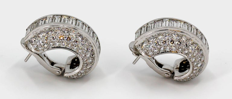Cartier Diamond and White Gold Hoop Earrings In Excellent Condition For Sale In New York, NY