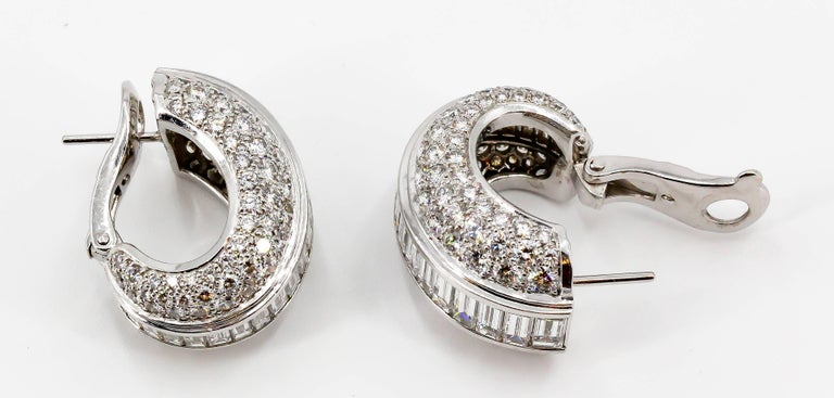 Women's Cartier Diamond and White Gold Hoop Earrings For Sale
