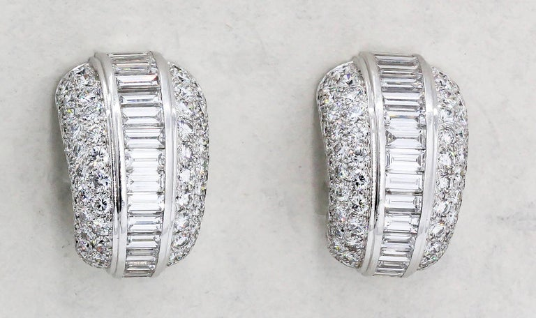 Cartier Diamond and White Gold Hoop Earrings For Sale 4