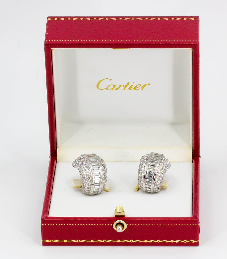 Cartier Diamond and White Gold Hoop Earrings For Sale 5