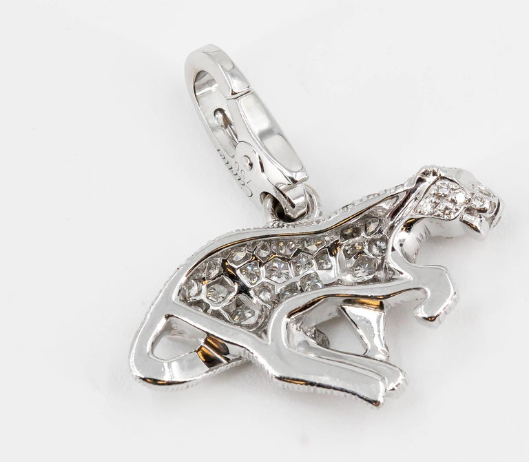 Cartier Panther Diamond and 18 Karat White Gold Charm In Excellent Condition For Sale In New York, NY