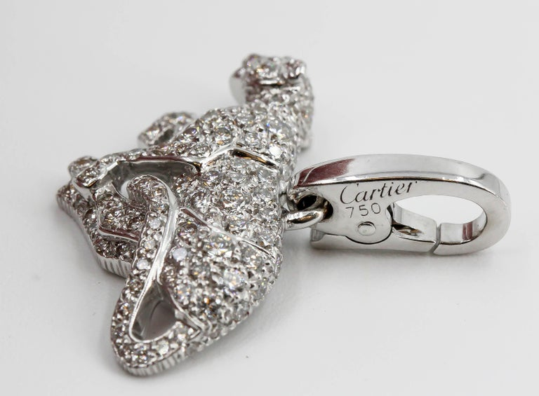 Women's or Men's Cartier Panther Diamond and 18 Karat White Gold Charm For Sale