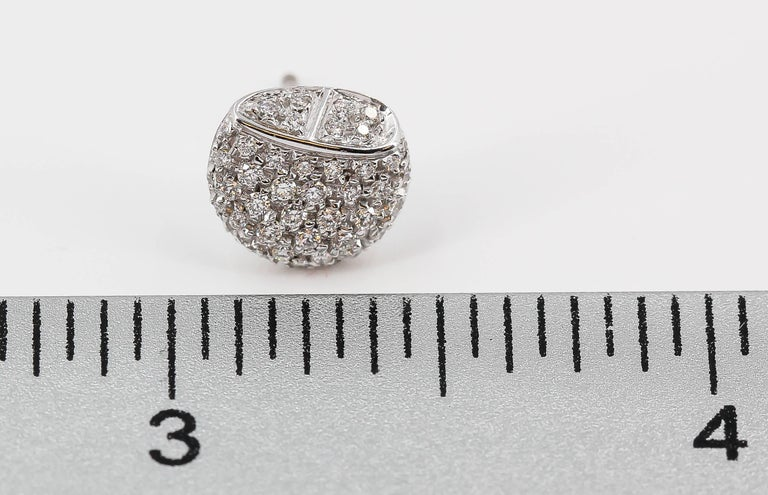 Hermes Diamond and White Gold Stud Earrings In Excellent Condition For Sale In New York, NY