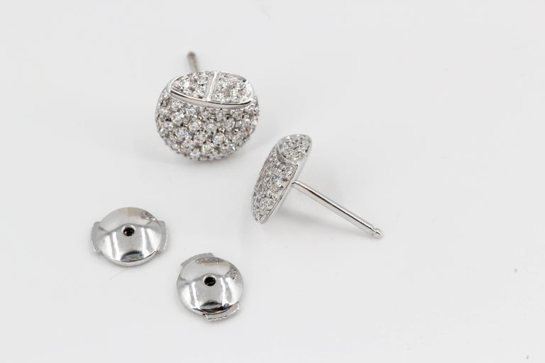 Hermes Diamond and White Gold Stud Earrings For Sale 1