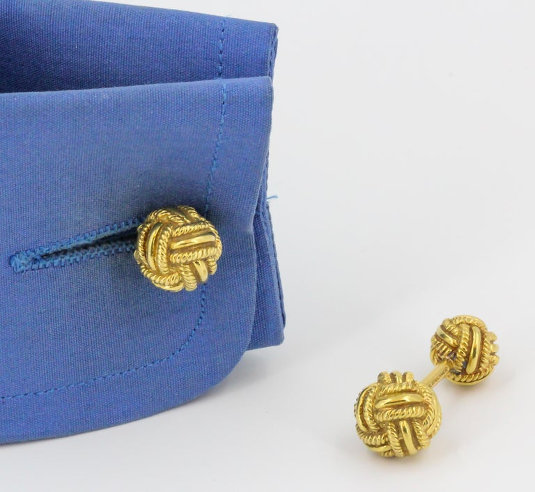 Tiffany & Co. Schlumberger Gold Knot Dumbbell Cufflinks For Sale 1