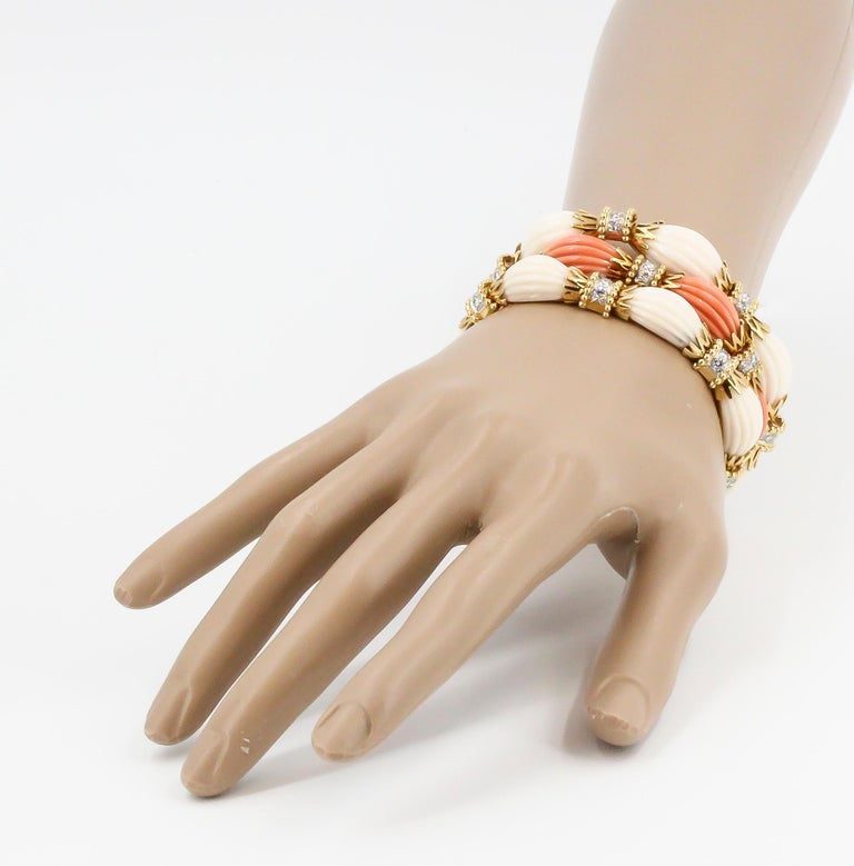 Van Cleef & Arpels Trio Set Diamond, Coral Gold and Platinum Bracelets In Excellent Condition For Sale In New York, NY