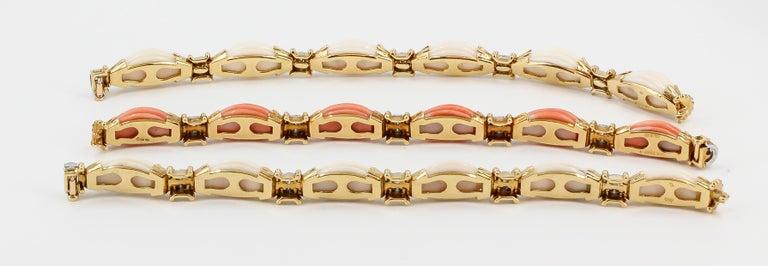Women's Van Cleef & Arpels Trio Set Diamond, Coral Gold and Platinum Bracelets For Sale