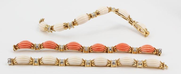 Van Cleef & Arpels Trio Set Diamond, Coral Gold and Platinum Bracelets For Sale 1