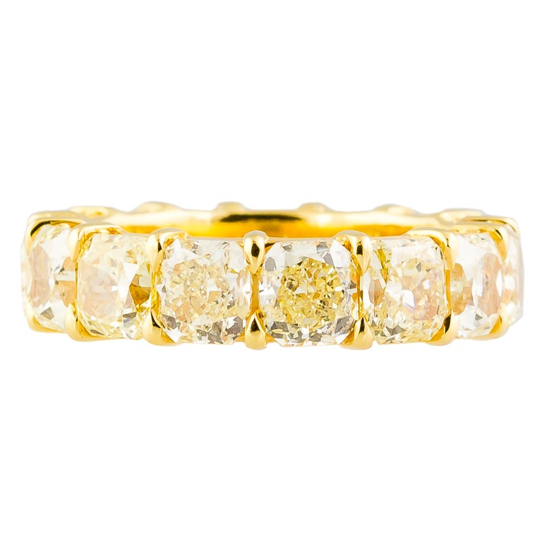 Fancy Yellow Diamond and Gold Band For Sale