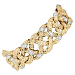 Van Cleef & Arpels Diamond Platinum Gold Textured Link Bracelet