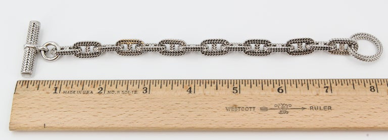 Hermès George L'Enfant White Gold Chaine D' Ancre Tresse Braided Link Bracelet In Excellent Condition For Sale In New York, NY