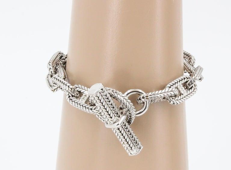 Women's Hermès George L'Enfant White Gold Chaine D' Ancre Tresse Braided Link Bracelet For Sale