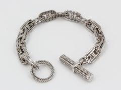HERMES George L'Enfant White Gold Chaine D' Ancre Tresse Braided Link Bracelet