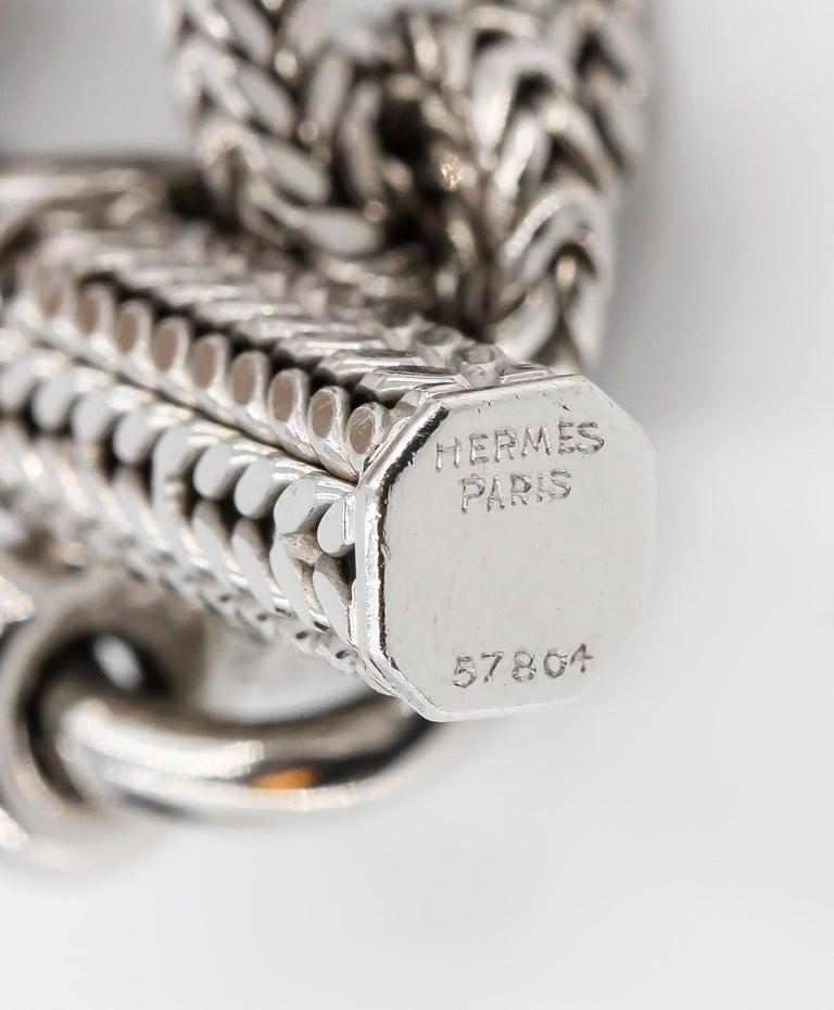 Hermès George L'Enfant White Gold Chaine D' Ancre Tresse Braided Link Bracelet For Sale 2