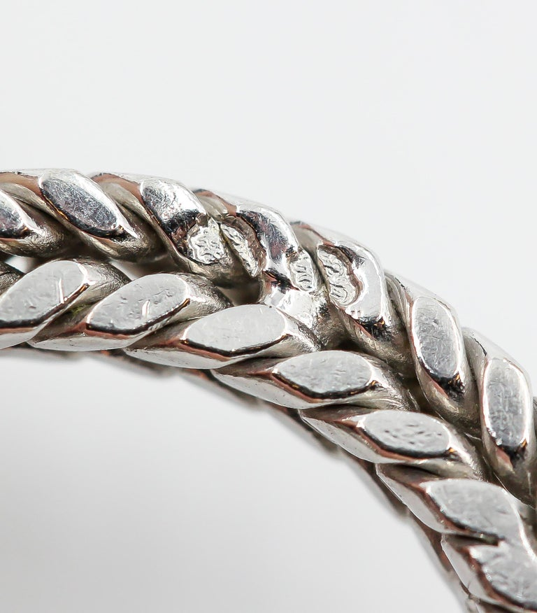Hermès George L'Enfant White Gold Chaine D' Ancre Tresse Braided Link Bracelet For Sale 3