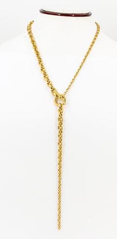 HERMES Crescendo 18K Yellow Gold Graduated Drop Link Necklace