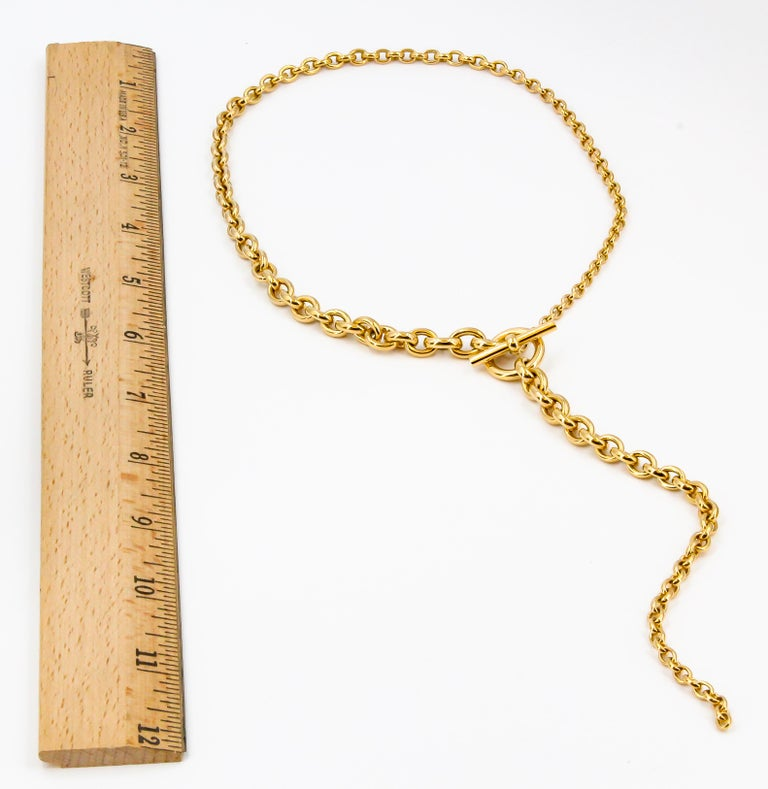 Hermes Crescendo 18 Karat Yellow Gold Graduated Drop Link Necklace In Excellent Condition For Sale In New York, NY
