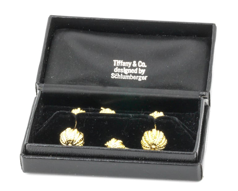 Tiffany & Co. Schlumberger Yellow Gold Seeds Cufflinks Stud Set For Sale 4