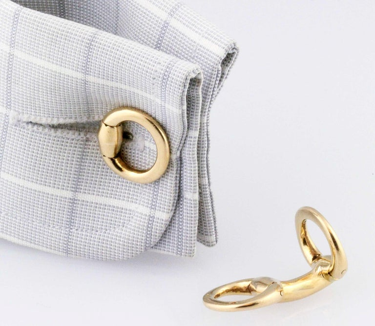 Hermès 18 Karat Gold Horse Bit Cufflinks For Sale 1
