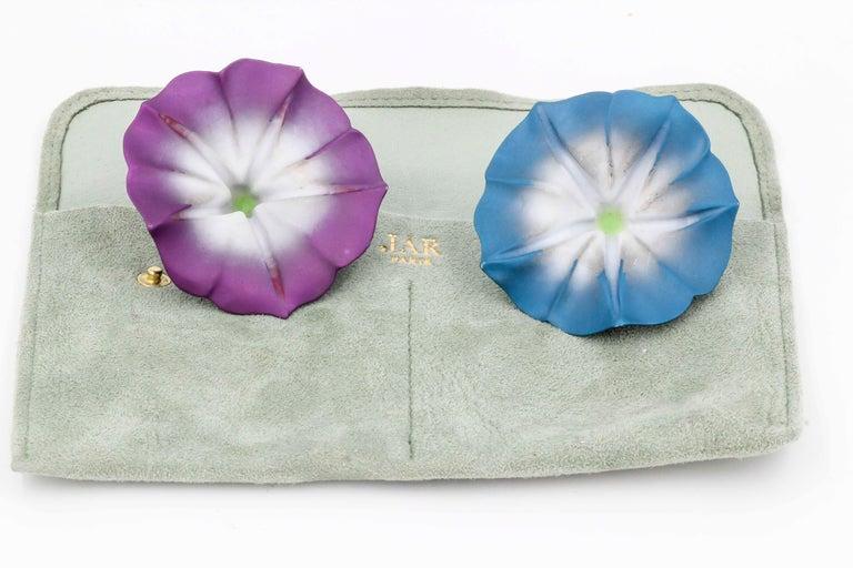 JAR Morning Glory Aluminum and 18 Karat Gold Flower Earrings For Sale 2