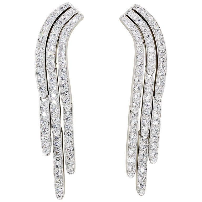 Cartier Diamond and Platinum Drop Earrings For Sale