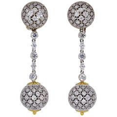 Mario Buccellati Diamond Two Tone 18 Karat Gold Dangle Earrings