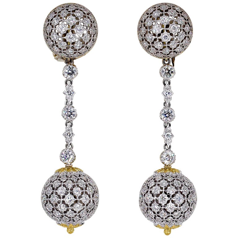 Mario Buccellati Diamond Two-Tone 18 Karat Gold Dangle Earrings For Sale