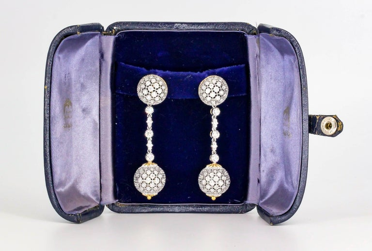 Mario Buccellati Diamond Two-Tone 18 Karat Gold Dangle Earrings For Sale 2