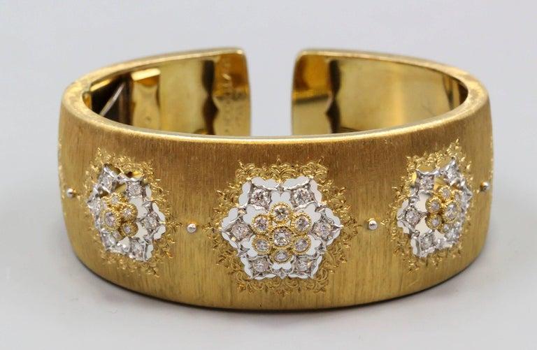 M. Buccellati Diamond Gold Wide Cuff Bracelet For Sale 1