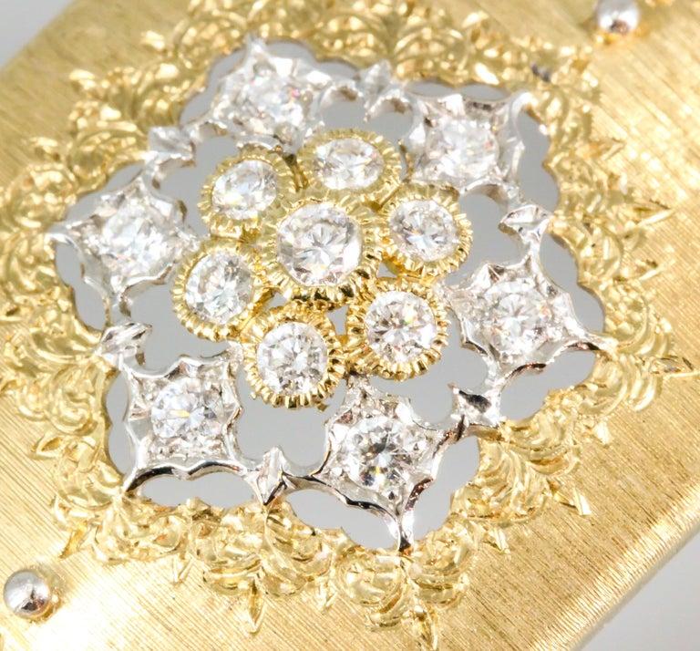 M. Buccellati Diamond Gold Wide Cuff Bracelet For Sale 7