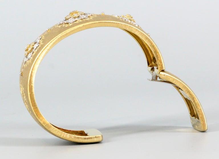 M. Buccellati Diamond Gold Wide Cuff Bracelet For Sale 8