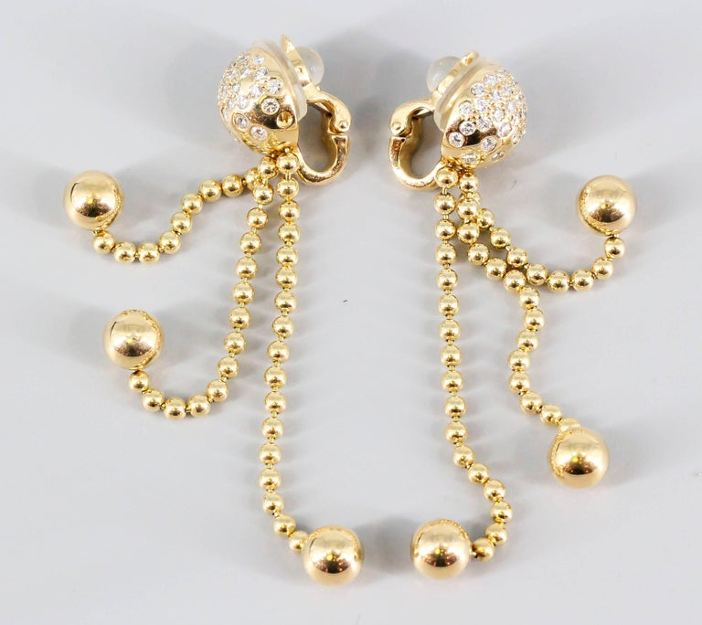Cartier Draperie Diamond Gold Chandelier Earrings In Excellent Condition For Sale In New York, NY