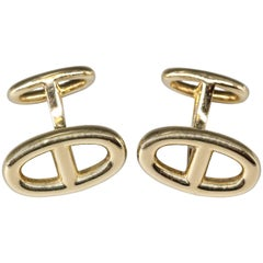 Hermes Le Havre 18 Karat Rose Gold Ellipse Shaped Cufflinks