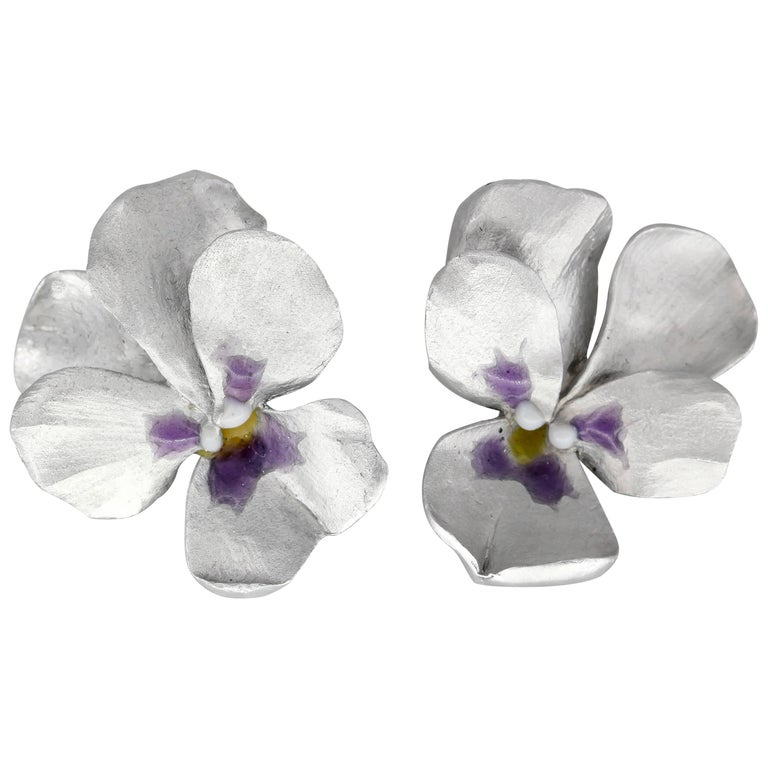 JAR Aluminum and Gold Pansy Earrings For Sale