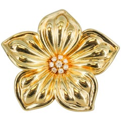 Van Cleef & Arpels Diamond and Gold Flower Brooch