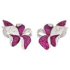 Adler Diamond, Ruby and White Gold Flower Earrings