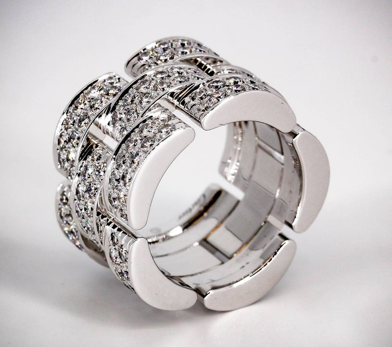 Contemporary Cartier Maillon Panthere Extra-Large Diamond Gold Band For Sale