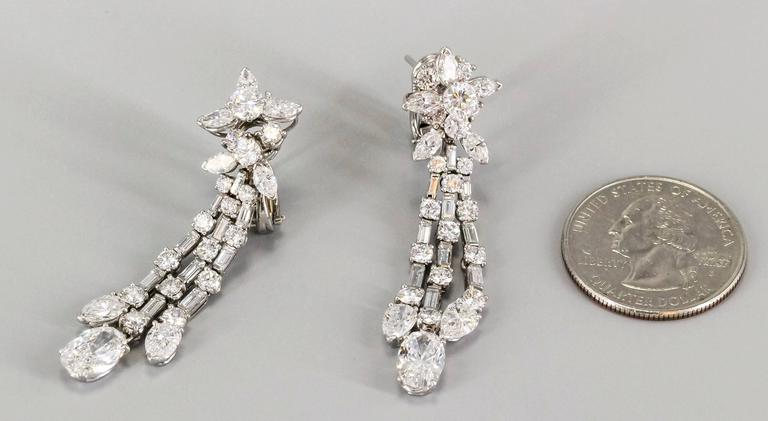 Harry Winston Diamond Platinum Ear Pendants circa 1960s 2