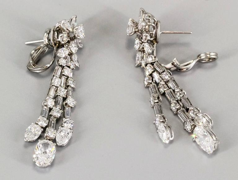 Harry Winston Diamond Platinum Ear Pendants circa 1960s 3