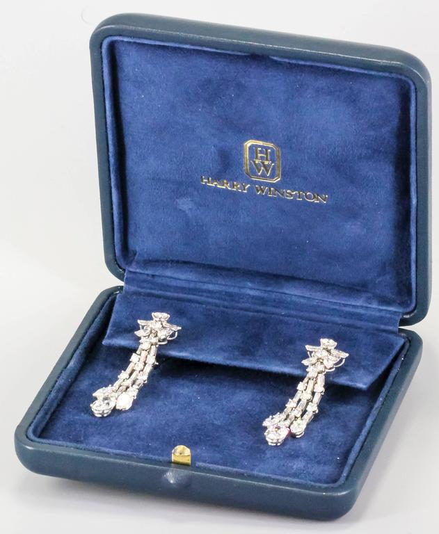 Harry Winston Diamond Platinum Ear Pendants circa 1960s 6